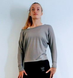 Ladies' Loose Fit Long Sleeve Top (Grey)