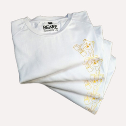 Mens white slim fit t-shirt, gold logo