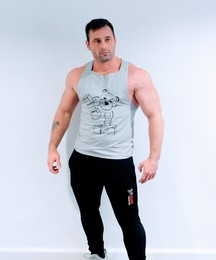 Hand made gym vest grey