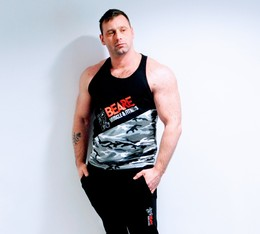 Mens black and grey camo gym vest