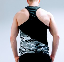 Men's Black and Grey Camo Gym Vest