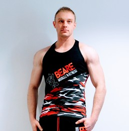 Mens black and red camo gym vest