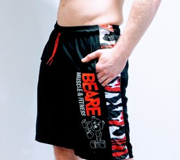 Mens black and red camo board shorts