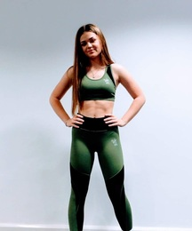Ladies' Leggings and Sports Bra Set (Black and Green)