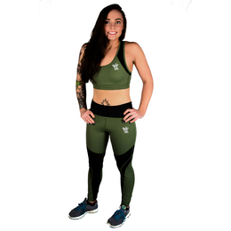 Ladies' Leggings and Sports Bra Set (Khaki and Black)